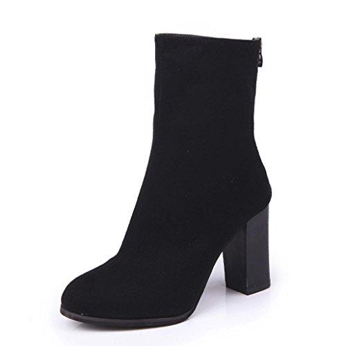 Somesun women high heels martin boots, donne fibbia faux delle signore stivali caldi stivaletti tacchi alti martin shoes (38, black)