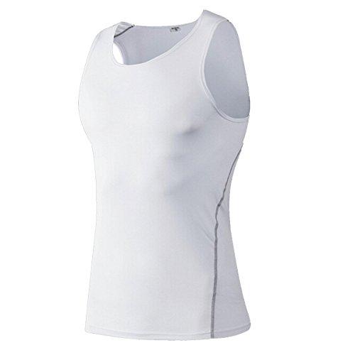 Butterme Uomo Equipaggiata secchezza rapido Athletic senza maniche Formazione canotte forma fisica della maglia maglietta per Basketball Gym Bianca