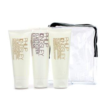 Philip Kingsley - Smooth & Shiny Jet Set: Shampoo 75ml + Conditioner 75ml + Elasticizer Extreme 75ml PHI534C 3pcs -
