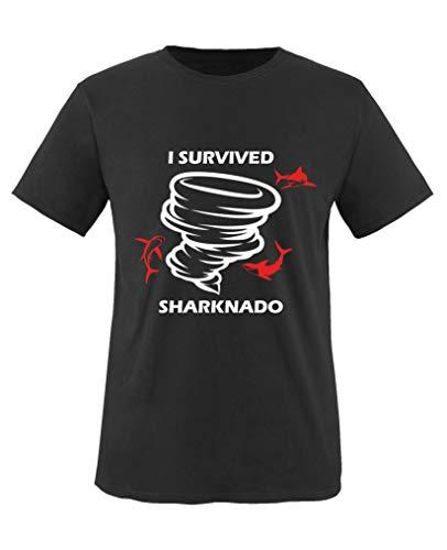 Comedy Shirts - I Survived Sharknado - Mädchen T-Shirt - Schwarz/Weiss-Rot Gr. 110/116