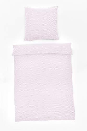 Rose Bettdecke (myHomery Zick-Zack Bettwäsche 2-teilig modern - Bettbezug mit praktischem Reißverschluss Betwäsche-Set 100% Baumwolle - Zickzack - Rosé | Bettdecke 135x200 cm & Kopfkissen 80x80 cm)