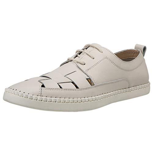CUTUDE Herren Freizeitschuhe Mokassins Atmungsaktiv Slip on Loafers Outdoor Casual Sneakers Weich Leder Shoes Halbschuhe (Weiß, 47 EU)