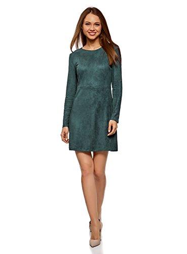 oodji Ultra Damen Langarm-Kleid in Wildlederoptik, Grün, DE 34 / EU 36 / XS (45870)