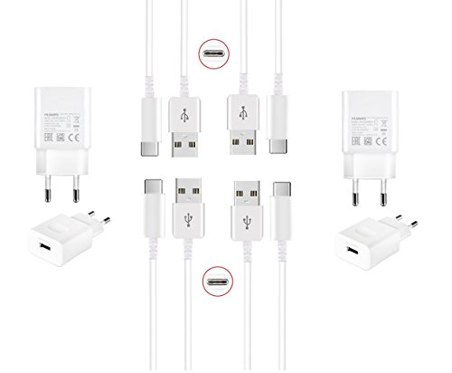 Original Huawei Ladegerät HW-050200E01 2x Netzteil + 4x Kabel Typ-C 120cm Set Datenkabel für Huawei Mate 10 Pro / Mate 10 / Mate 9 / Mate 9 Pro / P9 / P9 Plus / Nova / Nova 2 / Nova 2 Dual / Nova Plus / P10 / P10 Plus / P20 / P20 Lite / P20 Plus / P20 Pro / Honor V8 / Google Nexus 6P / Honor 8 / Honor 8 Premium / Honor 8 Pro / Honor 9 / Honor Magic / Honor Note 8 / Honor V8 2017 / Honor V9 Ladekabel Charger Netzstecker