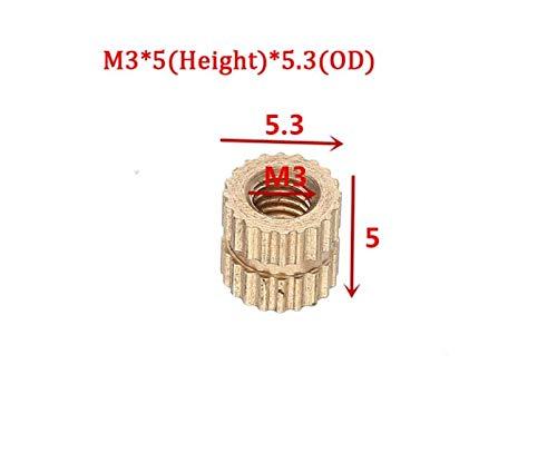 ChaRLes 100Pcs M3 Latón Moleteado Tuercas Rosca Hembra