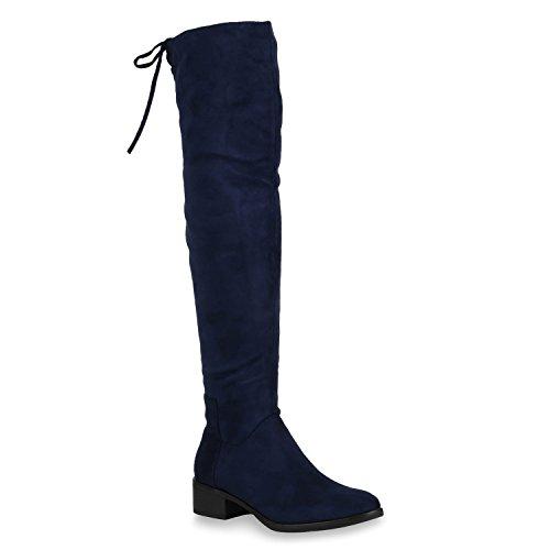 Stiefelparadies Damen Stiefel Overknees Schnürung Veloursoptik Schuhe 145595 Dunkelblau Autol 38...