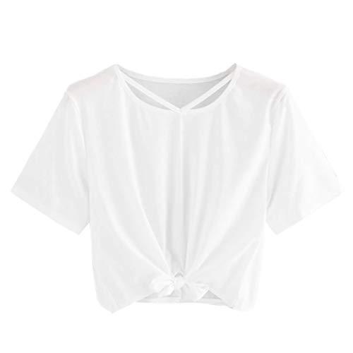 TOPSELD T Shirt Damen, Frauen BeiläUfige Feste Kurze HüLse AushöHlen Bandage Spitzenbluse Crop Tops Shirts