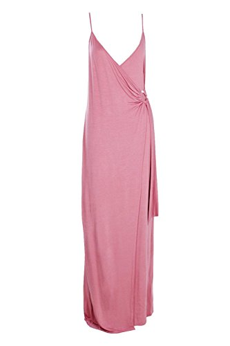 Rose Femmes Amaris Wrap Front Strappy Maxi Dress Rose