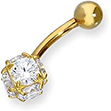 Piercing para Ombligo en Oro Amarillo de 9 Quilates de Esfera con Circonitas