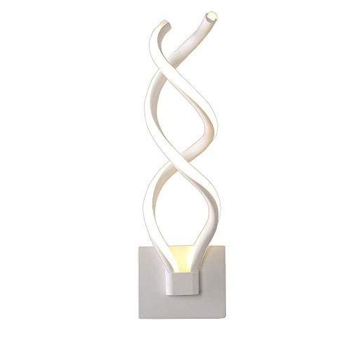 LED Wandleuchte Innen,24W 3-Farben-Transformation 12*H43CM Weiß Wandlampe Aluminium Spirale Form Design Wandlicht Kunstvolle Geschwungenen Perfekt Für Wohnzimmer Schlafzimmer Studieren Garderobe
