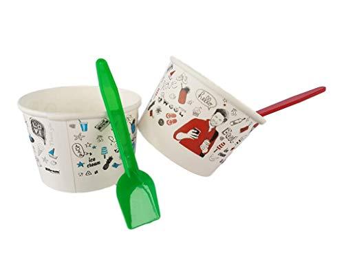 Kram 25Stück Tasse + Löffel Ice Cream 130ml Schüssel Klein Container Takeaway Fast Food Einweg Box Deckel Aufbewahrungsbox für Kinder Kid Party