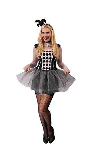 KARNEVALS-GIGANT Sexy Harlekin-Kostüm Lucy für Damen in Schwarz-Weiß -