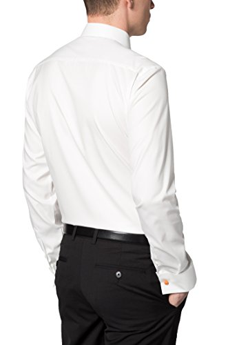 Eterna Long Sleeve Shirt Slim Fit Twill-Stretch Structured Champagne