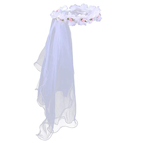 Lurrose Mädchen Erstkommunion Schleier Zwei Schichten Spitze Schleier Blumenmädchen Schleier Stirnband Blume Kranz Hochzeit Haarschmuck für Mädchen (Weiß)