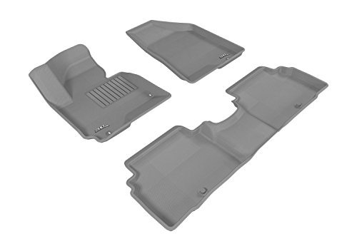 3d MAXpider All 2 Row Custom Fit Floor Mat for select SPORTAGE Models - cagou Rubber (Gray)