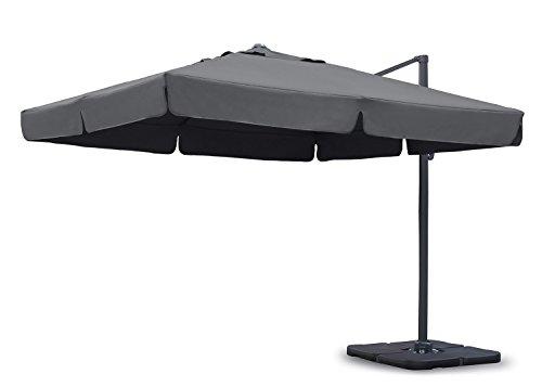 Sekey Sonnenschirm 300 x 300 cm Aluminium-Sonnenschirm Marktschirm Gartenschirm Terrassenschirm Ampelschirm Kurbelschirm Grau Quadratisch Sonnenschutz UV50+ 23kg