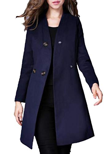 CuteRose Women's Travel Safari Eco Fleece Button Closure Duster Coat Navy Blue XL Navy Wool Toggle Coat