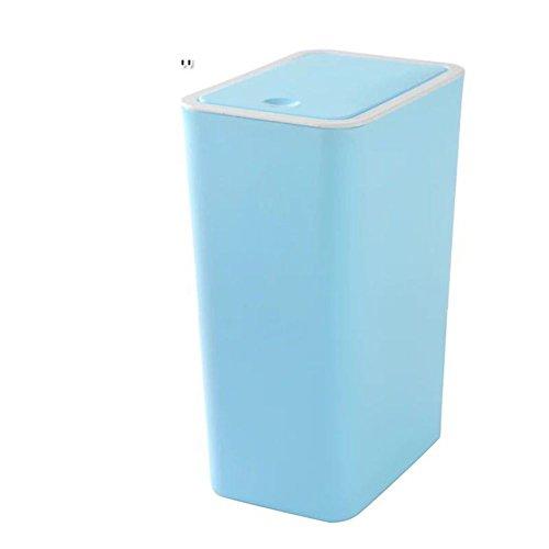 EODNCKJFG Rechteckige Trash Kann Bin Mlleimer,Badezimmer,Kche,Schlafzimmer papierkorb mlleimer,Push-Typ plastikeimer mit Deckel,Blue-Blau