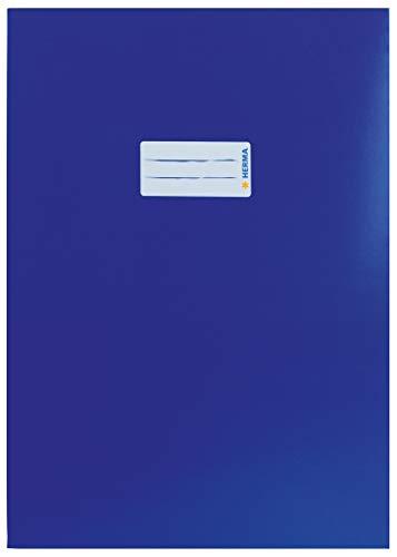 HERMA 19751 Papier Heftumschlag DIN A4 mit Beschriftungsetikett, aus stabilem und extra starkem Karton, Heftschoner für Schulhefte, dunkelblau
