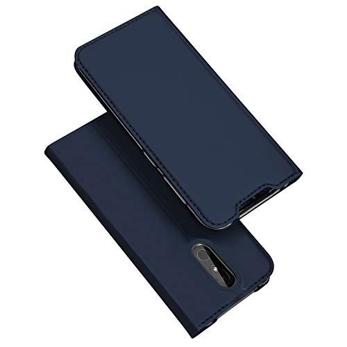 DUX DUCIS Hülle für Nokia 3.2, Leder Flip Handyhülle Schutzhülle Tasche Case mit [Kartenfach] [Standfunktion] [Magnetverschluss] für Nokia 3.2 (Blau)