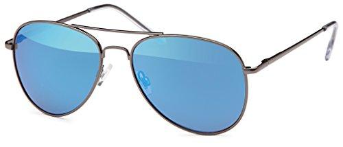 Pilotenbrille Sonnenbrille 70er Jahre Herren & Damen Sunglasses Fliegerbrille verspiegelt (Black/Blue)