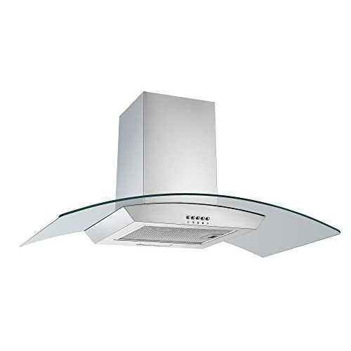 31TuKmjn6FL. SS500  - Cookology CGL900SS 90cm Curved Glass Chimney Cooker Hood in Stainless Steel | Wall Mounted Extractor Fan