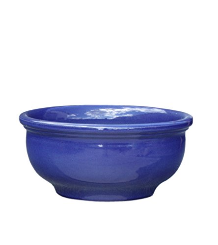 Hentschke Keramik Pflanztopf/Pflanzkübel frostsicher Ø 40 x 19 cm, Effekt blau, 011.040.64 Blumenkübel für Draußen + Innen - Made in Germany