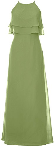 MACloth Elegant Long Bridesmaid Dress Tiered Chiffon Wedding Party Formal Gown clover