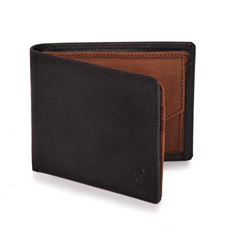 Donbolso Geldbörse Berlin Leder Herren - Geldbeutel schwarz braun - Portemonnaie für Männer mit RFID Schutz - Echtleder Portmonee - Kreditkarte Beutel
