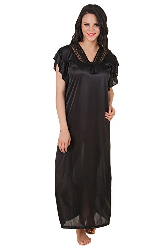 Fasense Exclusive Women Satin Nightwear Sleepwear Long Nighty DP136  Available Colors  Navy blue bfa8b61f2