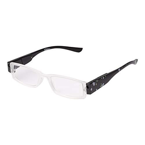Ultra ® schwarz Blumen farbig 2,0 Dioptrieneinstellung Dioptrie Muster Farbe Presbyopic Erwachsene Brille LED Licht Power mit Feder Scharnier Womens