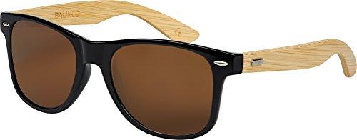 Hochwertige Bambus Holz Nerd Sonnenbrille Rubber im Wayfarer Stil Retro Vintage Unisex Brille mit Federscharnier - 9 verschiedene Farben/Modelle wählbar (Bambus - Braun)