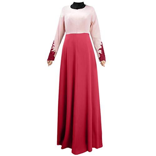 CUTUDE Muslim Lady Große Größe Stitching Lace Trumpet Sleeve Kleid Kostüm Damen Muslim Kleidung Sommer Lange Ärmel Ramadan Bluse Mittlerer Osten Saudi Arabisch Traditionell Kleidung(Rot, ()