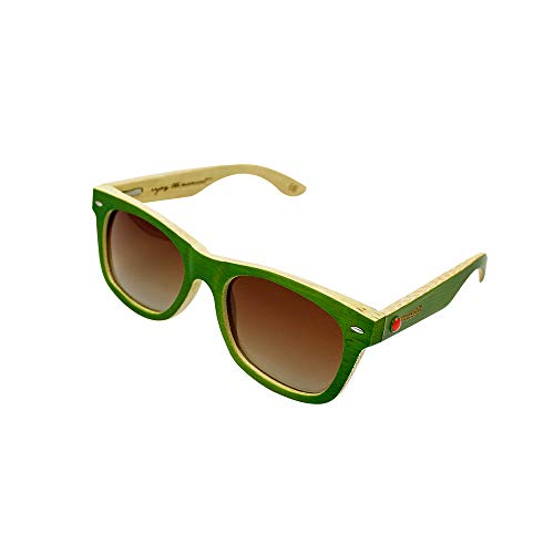 MELON Unisex Polarisierte Sonnenbrille aus Bambusholz, UV400, Woodys Sunshades Bamboo, Grün