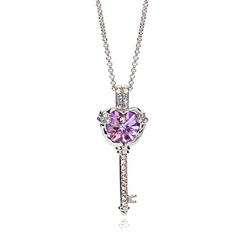 """Frola Flash """"Magic chiave a mio cuore viola cristallo Swarovski, Collana con Pendente dalla Donna Fashion Jewelry-regalo di amore"""