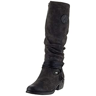 Rieker Damen 93154 Hohe Stiefel Grau (Anthrazit/Schwarz 45) 40 EU