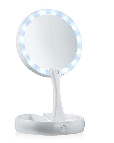 WEKNOWU Espejo de Mesa, Fold LED Wht 10x Espejo de Aumento Iluminado con LED Blanco Natural