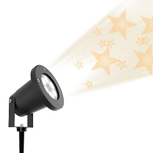 CYCMIA Wasserdichte auen LED Weihnachtsbeleuchtung, Gartenleuchte LED Sternenhimmel Projektor, Mauer Dekoration, Party Licht, Gartenlicht fr Festen, Weihnachten, Karneval (Warm White)