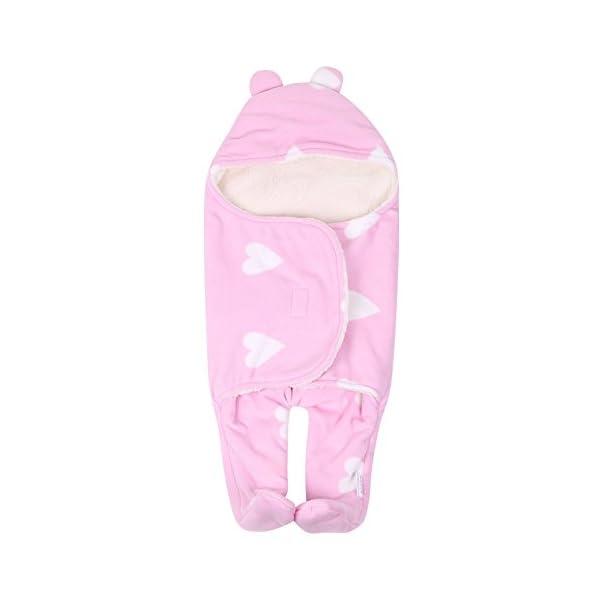 Manta infantil Bebe invierno Saco de dormir bebé recién nacido Nido de ángel Bebé recién nacido Unisex abrigado Vellón con pies separados asientos de auto Asientos Conchas Camas Cochecitos (rosa)