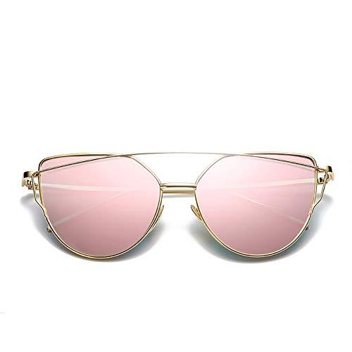 Mode Trend Sonnenbrillen Metall Vintage Sonnenbrillen für Frauen undMänner Accessoires (Farbe : Gold/pink Lens)
