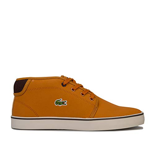 Lacoste Junior Boys Ampthill Trainers in Tan- Lace Fastening- Cushioned