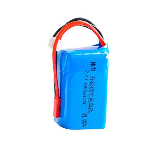 Mumuj LiPo Akku Für WLTOYS, Upgrade 7,4 V 1800 mAH Batterie T-Stecker JST-Stecker für WLTOYS A959-B / A969-B / A979-B / K29-B 1/18 RC-Car (JST-Stecker) - 1800mah Rc-cars