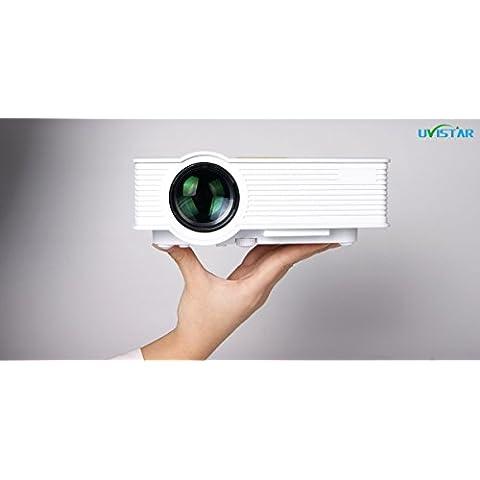 Uvistar-GP9 Mini Proyectores 800 Lumens 60W Proyector HD Video Portátil con HDMI / VGA / AV / SD / USB Interfaces para Cine en Casa Baja Radialized 100% Material Ambiental (GP9)