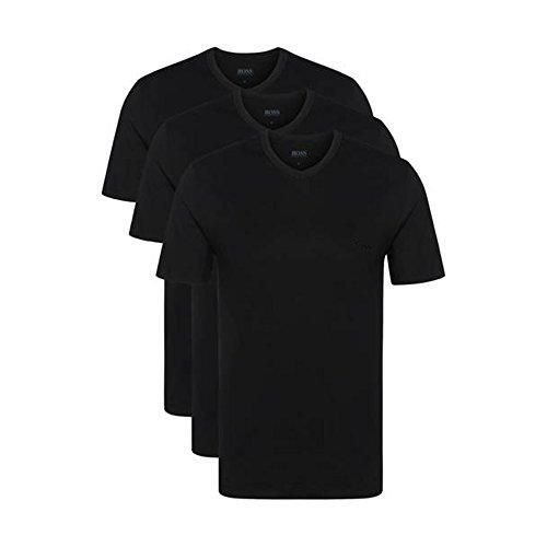 Hugo Boss 3er Pack V Neck V Ausschnitt M 3 x schwarz T Shirts Farbe 001 Vorteilspack -