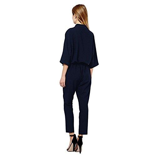 Minetom Col V manche courte lâche Jumpsuit pantalons longs l'usure du parti du club Sexy Playsuit Bleu