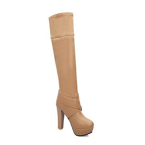 VogueZone009 Donna Alta Altezza Tacco Alto Chiodato Luccichio Stivali con Metallo Albicocca