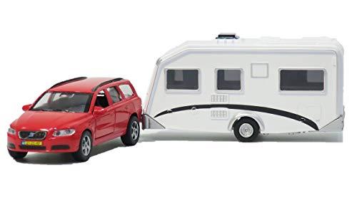 Top Race Diecast Volvo Car mit Holiday Caravan Trailer Spielzeug; Ziehen Sie Sich zurück, Türen öffnen Sich - Modell-Imagination, Spielen Sie für Kinder ab 3 Jahren