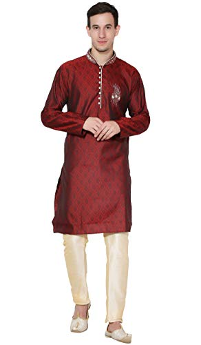 Kurta indische Männer Pyjama Brautkleid Langarm Jacquard Silk Mischung Hemd Pajama -M