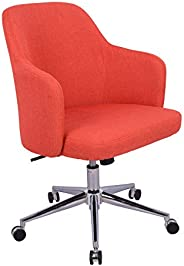 AmazonBasics Classic Adjustable Office Desk Chair - Twill Fabric, Brick Red, BIFMA Certified