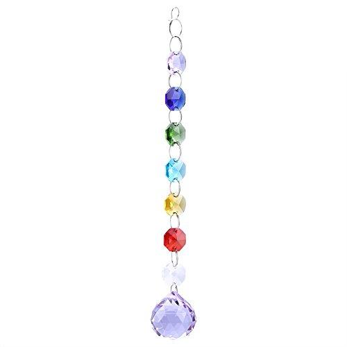 Zerodis Kristall Anhänger Sonnenfänger Regenbogen Prismen String Perlen für Hochzeit Party Kronleuchter Fenster Dekoration(Violett) (Perlen-fenster)
